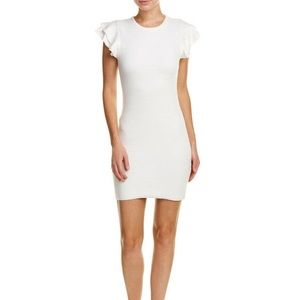 Soft Sweater White Cocktail Body con Dress